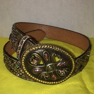Leather belt with gems size 28 waist leather